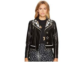 RED Valentino Leather Intarsia Coat Women's Coat