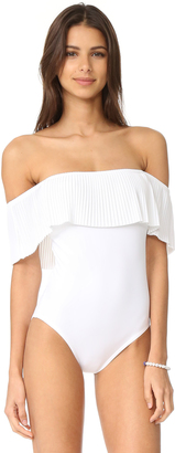 Karla Colletto Josephine Off Shoulder Maillot $311 thestylecure.com
