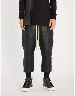 Rick Owens Dropped-crotch relaxed-fit straight leather trousers