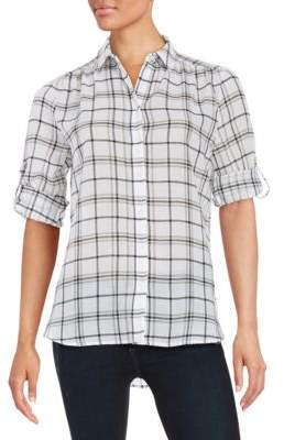 Lord & Taylor Petite Petite Cotton Plaid Sportshirt