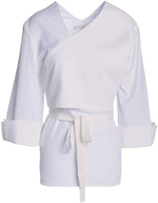 CHRISTOPHER ESBER Cropped Stretch-cotton Cloque Top