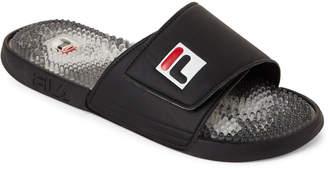 Fila Black & Red Massaggio Sport Slide Sandals
