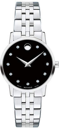 Movado 28mm Museum Classic Diamond Watch, Black/Silver