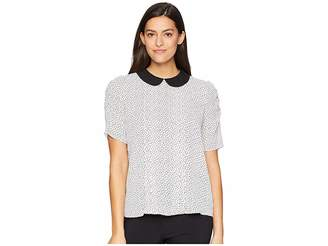 CeCe Puffed Sleeve Confetti Stamp Collared Blouse Women's Blouse