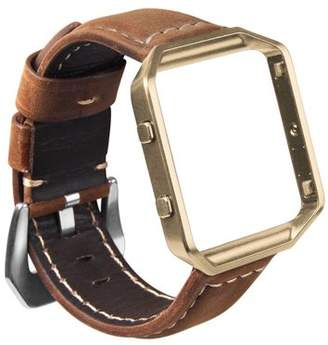 Fitbit Blaze Watch Band, Mignova Resto Genuine Leather Replacement Wrist band strap with Stainless Steel Frame for Blaze Smart Fitness Watch (Brown Band + Golden Frame)