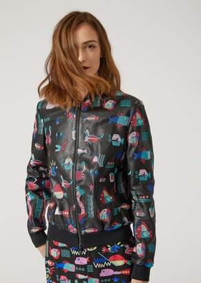 Emporio Armani Cyber Waterworld Leather Bomber Jacket