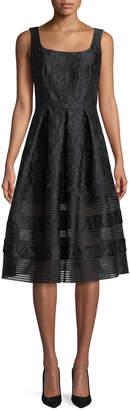 Carmen Marc Valvo Brocade Fit-&-Flare Dress w/ Mesh Insets