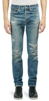 Saint Laurent Distressed Slim Fit Jeans