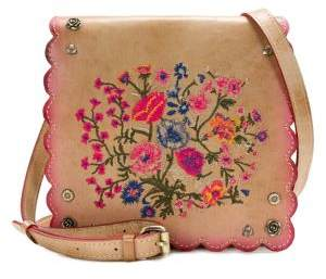 Patricia Nash Prairie Rose Embroidery Granada Leather Crossbody Bag
