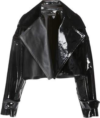 David Koma Cropped Patent Leather Jacket