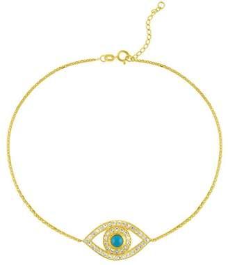 Sphera Milano 18K Yellow Gold Vermeil CZ Evil Eye Bracelet