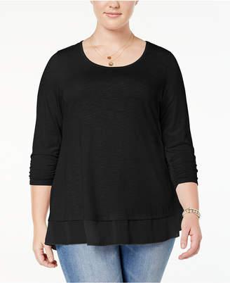 Style&Co. Style & Co Plus Size Chiffon-Hem Top