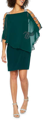 MSK 3/4 Sleeve Embellished Cape Sheath Dress