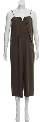 Halston High-Rise Wide-Leg Cropped Jumpsuit