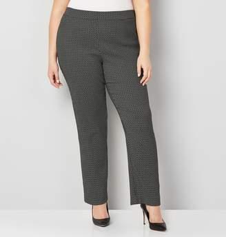 Avenue Plus Size Black White Jacquard Super Stretch Pull-On Pant