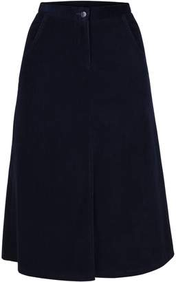 MUZA - A-Line Corduroy Knee Length Skirt With Slit