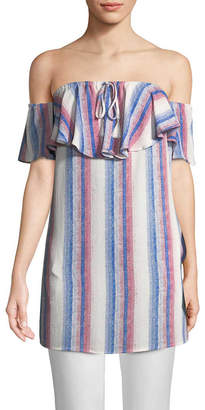 RENVY Striped Off-The-Shoulder Tunic