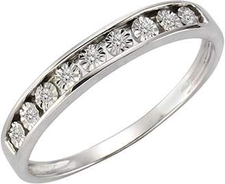 Celesta Women 925 Silver Round White Purple Amethyst Diamond
