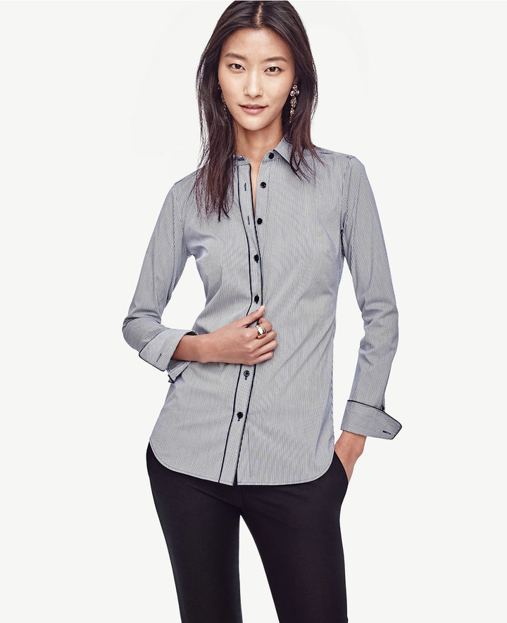 Ann TaylorTipped Stripe Perfect Shirt
