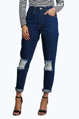 boohoo 70's Wash Knee Rip Mom Jeans