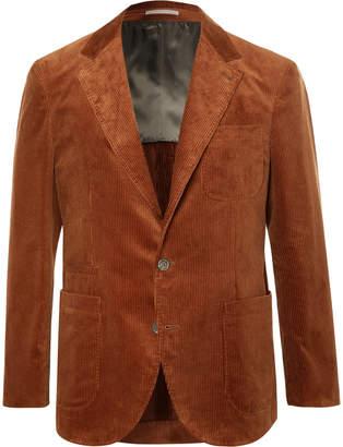 Brunello Cucinelli Brick Slim-Fit Unstructured Sea Island Cotton-Corduroy Suit Jacket