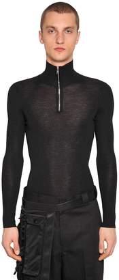 Prada Zip-Up Wool Turtleneck Sweater