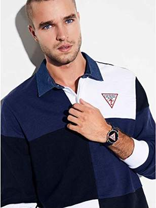 GUESS Men's Long Sleeve Color Block Rugby Shirt