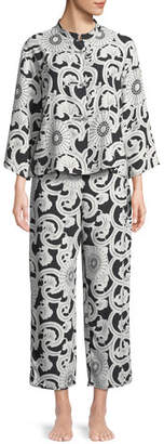 Natori Silk Road Mandarin-Collar Satin Pajama Set
