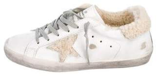 Golden Goose Shearling-Trim Superstar Sneakers