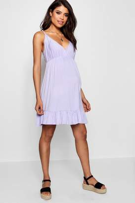 boohoo Maternity Strappy Ruffle Smock Dress