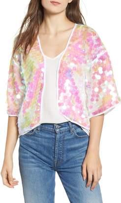 Trouve Iridescent Sequin Kimono
