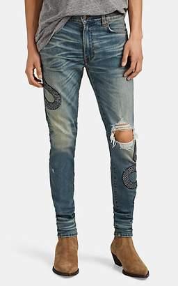 Amiri Men's Embroidered-Sequined-Snake Skinny Jeans - Black