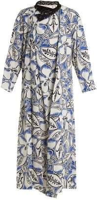 Toga Floral-print lace-collar midi dress