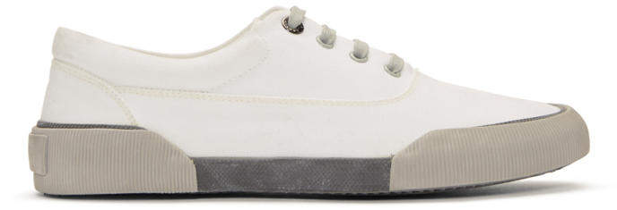 Lanvin White Destroy Canvas Oxford Sneakers