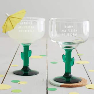 Becky Broome Personalised 'All Fiesta' Cactus Margarita Glass