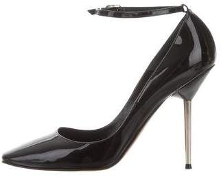 Lanvin Patent Leather Ankle Strap Pumps