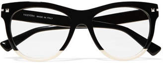 Valentino Garavani Two-tone Acetate Cat-eye Optical Glasses - Black