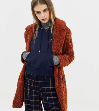 Pull&Bear borg teddy coat in rust