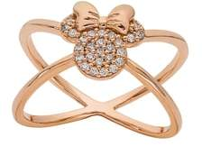 Disney Minnie Mouse Rose Gold & Crystal Cross Ring
