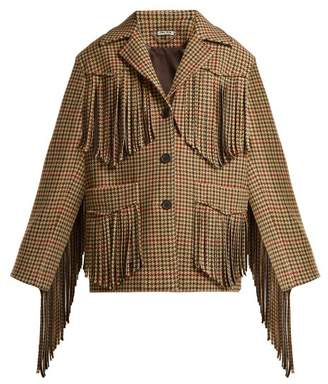 Miu Miu Fringed Houndstooth Wool Jacket - Womens - Green Multi