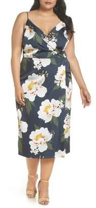 Cooper St Pascala Floral Satin Faux Wrap Dress