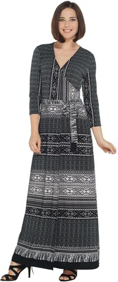 Women With Control Attitudes by Renee Tall Como Jersey Printed Faux Wrap Maxi Dress