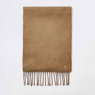 River Island Mens Brown woven embroidered scarf