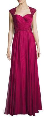 La Femme Ruched-Bodice Sweetheart Gown, Cocoa $610 thestylecure.com