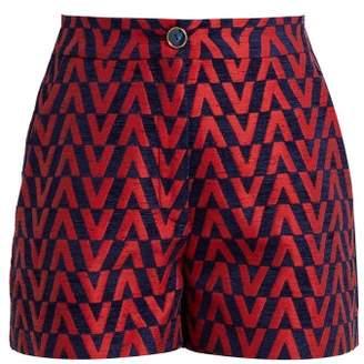 Valentino Optical Brocade High Waisted Shorts - Womens - Navy Multi