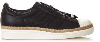adidas Black Superstar New Bold Sneakers In Jute & Leather