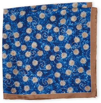 Piattelli Bruno Blue Abstract Silk Pocket Square