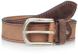 Bolliver Men's Distressed and Faded with Contrast Edge and Stitch Belt