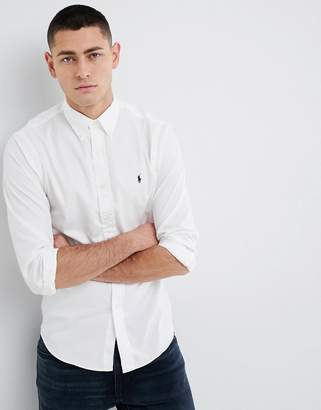 Polo Ralph Lauren Slim Fit Garment Dyed Shirt Polo Player In White