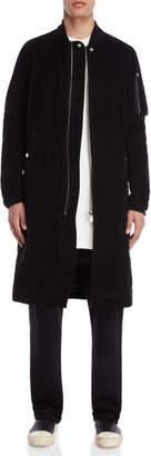 Rick Owens Black Longline Velour Bomber Jacket